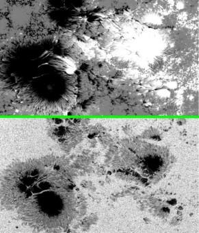 Figura 3(a) e 3(b). La Figura 3(a) è un'immagine delle macchie solari raccolta da Hinode il 24 ottobre nella luce bianca, la figura 3(b) è la medesima immagine con evidenza del campo magnetico.