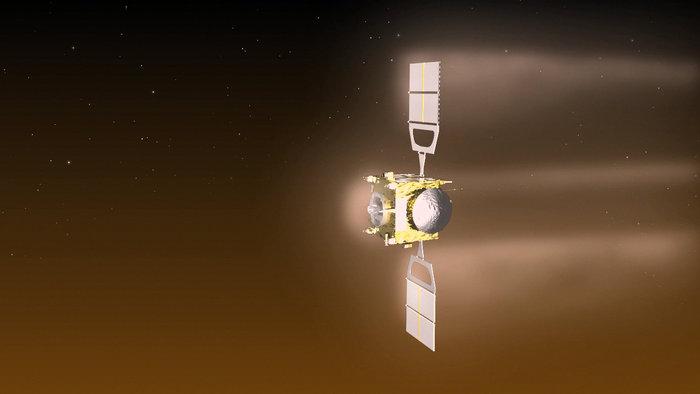 Riproduzione artistica di Venus Express durante le manovre di aerofrenaggio. Crediti: ESA–C. Carreau
