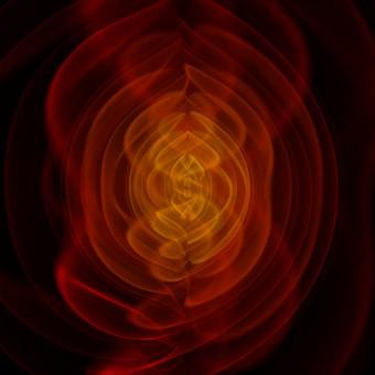 Simulazione delle onde gravitazionali prodotte durante la fusione di due buchi neri. Crediti: Henze, NASA