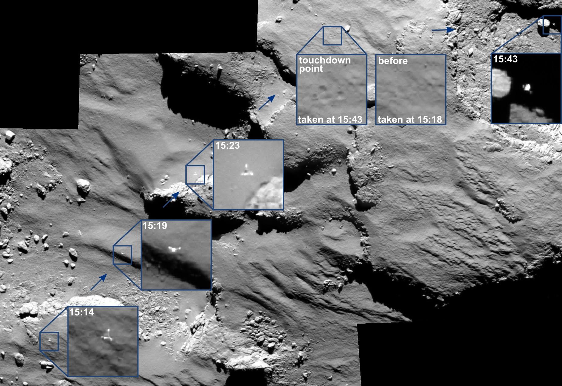 I rimbalzi di Philae visti da OSIRIS a bordo di Rosetta (ESA): Crediti: ESA/Rosetta/MPS for OSIRIS Team MPS/UPD/LAM/IAA/SSO/INTA/UPM/DASP/IDA
