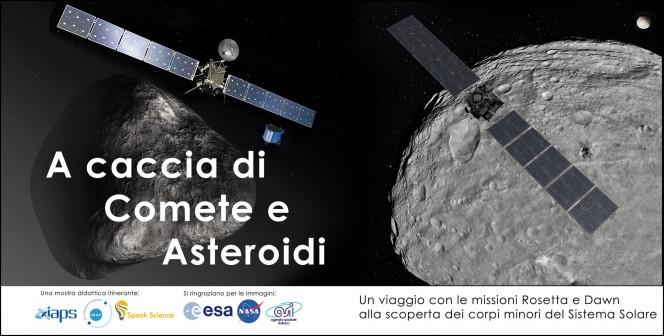 """La locandina della mostra didattica itinerante """"A caccia di Comete e asteroidi"""""""
