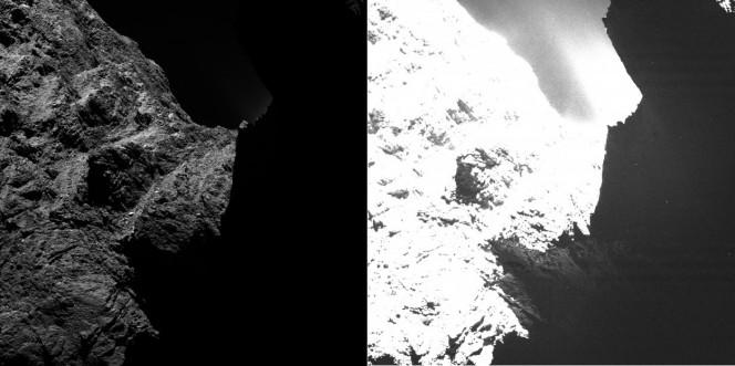 Un'immagine della cometa 67P/Churyumov-Gerasimenko scattata lo scorso 30 ottobre da OSIRIS da una distanza di circa 30 chilometri. L'immagine è mostrata con due livelli di saturazione differente: mentre nell'immagine a sinistra la metà è totalmente buia, nell'immagine a destra diventano visibili alcune caratteristiche della superficie. Credits:ESA/Rosetta/MPS for OSIRIS Team MPS/UPD/LAM/IAA/SSO/INTA/UPM/DASP/IDA