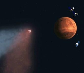 """Tre sonde marziane hanno atteso al varco la cometa Siding Springs, occasione unica per incontrare un vero """"fossile"""" del Sistema Solare. Crediti: NASA/JPL"""