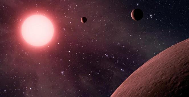 Esopianeti in orbita attorno a una nana rossa, nella rappresentazione grafica di un artista. Crediti: NASA / JPL.