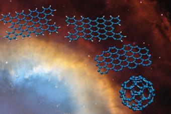 Uno spogliarello molecolare: colpita della luce, una grande molecola PAH si sveste di tutti gli atomi di idrogeno esterni, fino a mostrare lo scheletro nudo di carbonio. Con qualche ulteriore passaggio si può forma la 'Buckyball' di fullerene C60 rappresentata in basso a destra. Crediti: Leiden University Linnartz/Tielens