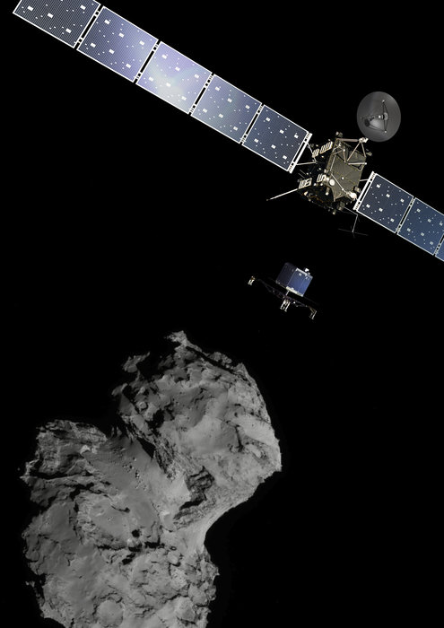 Un'immagine che ritrae insieme i protagonisti dell'impresa: Rosetta, Philae e la cometa 67/P.  Credits ESA/ATG medialab; per l'immagine della cometa è stata usata una foto scattata dalla camera a largo angolo a bordo della sonda ESA/Rosetta/Navcam