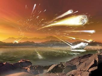 Una ricostruzione artistica dell'epoca, circa 4,5 miliardi di anni fa, in cui la Terra subì un intenso bombardamento di asteroidi e comete. Crediti: Dana Berry, University of Colorado/NASA, Lunar Science Institute, SWRI