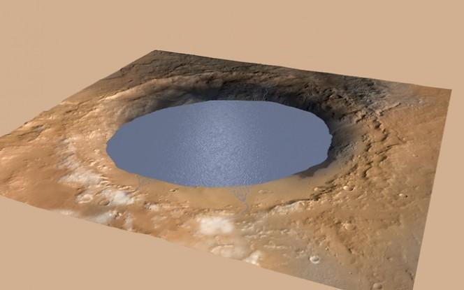 Illustrazione del lago di acqua che riempie parzialmente il Gale Crater su Marte: si tratta della neve che si scioglie sul bordo nord. Crediti: NASA/JPL-Caltech/ESA/DLR/FU Berlin/MSSS
