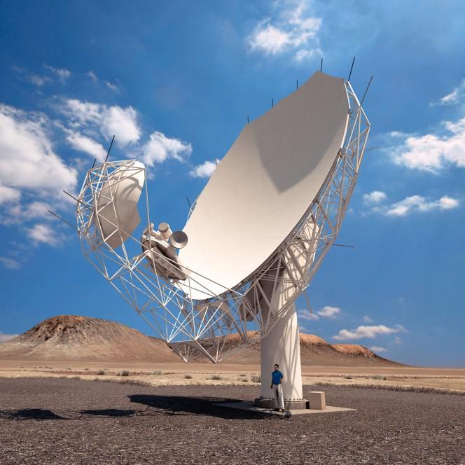 Rappresentazione artistica di un'antenna MeerKAT. I ricercatori sperano che tutti e 64 i ricevitori saranno installati entro la fine del 2016. Crediti: SKA Africa