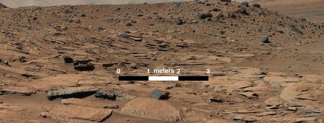 In questa immagine scattata il 13 marzo 2014 a nord della regione Kimberly, letti di sabbia arenaria in  un antico piccolo delta fluviale. Crediti: NASA/JPL-Caltech/MSSS
