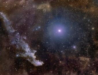 La stella Rigel e sulla sinistra, il curioso profilo della nebulosa IC 2118, non a caso ribattezzata Nebulosa Testa di Strega. Crediti:  Rogelio Bernal Andreo (Deep Sky Colors)