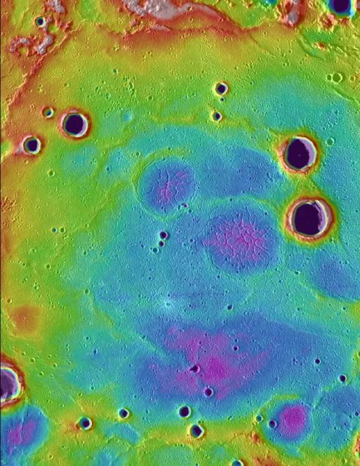 Un dettaglio della superficie di Mercurio ripreso dal Mercury Laser Altimeter di MESSENGER