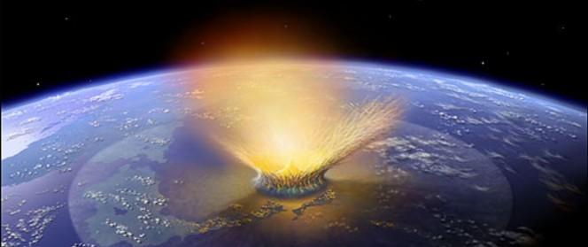 L'impatto di un meteorite di grandi dimensioni sulla Terra, nel rendering di un artista.