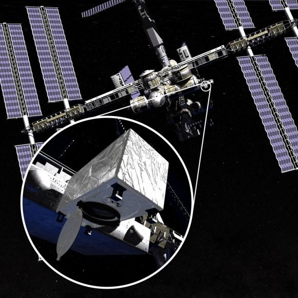 Rappresentazione dell'esperimento CATS sulla SSI. Crediti: NASA