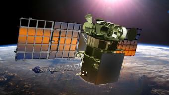 Rappresentazione del satellite DSCOVR che controllerà in tempo reale il flusso di vento solare e che verrà lanciato a fine mese da Cape Canaveral. Crediti: NOAA