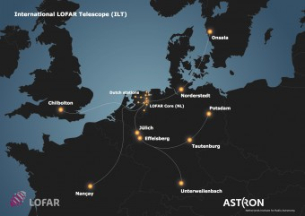 Il telescopio internazionale Lofar ha il suo nucleo in Olanda e stazioni sparse in Francia, Germania, Regno Unito e Svezia. Tre nuove stazioni sono in via di costruzione in Polonia. Crediti: Astron