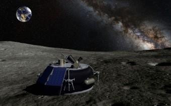 Il lander MX-1 sulla superficie della Luna. Rappresentazione artistica a cura di Moon Express Inc.