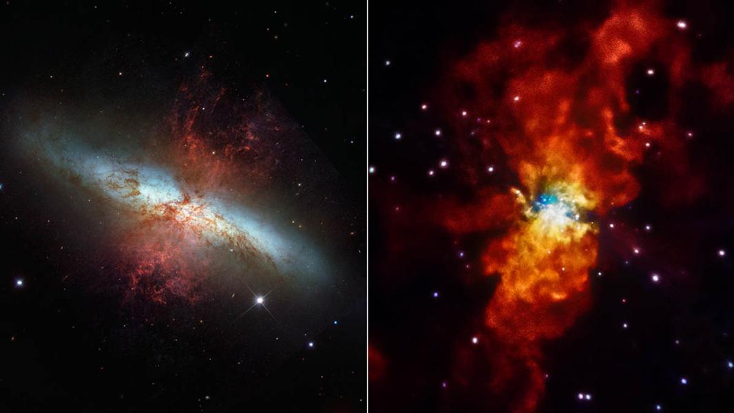 La Galassia Sigaro vista in due differenti luci: a sx nel visibile dallo Hubble Space Telescope , a dx in raggi X dall'osservatorio spaziale Chandra. Crediti: NASA/ESA/STScI/SAO