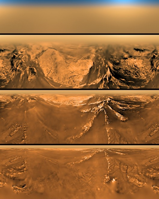 Le immagini sono state prese dal radiometro spettrale della sonda durante la discesa su Titano.