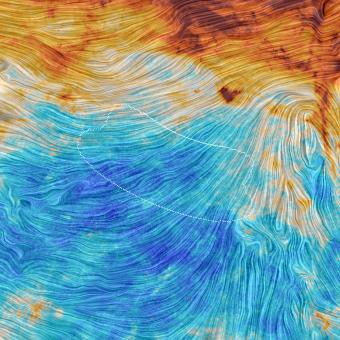 """Immagine ottenuta tramite Planck della porzione di cielo osservata da BICEP2. La scala cromatica rappresenta le emissioni dalla polvere, mentre le linee indicano l'orientamento del campo magnetico galattico, rilevato misurando la direzione della luce polarizzata emessa dalla polvere. L'area tratteggiata identifica una piccola regione di cielo osservata da BICEP2 e dal Keck Array, due esperimenti situati al Polo Sud, nella quale era stata ipotizzata una possibile presenza dei """"modi B"""" primordiali. L'intera immagine copre un'area di cielo di 60° di lato. Crediti: ESA / Planck Collaboration"""
