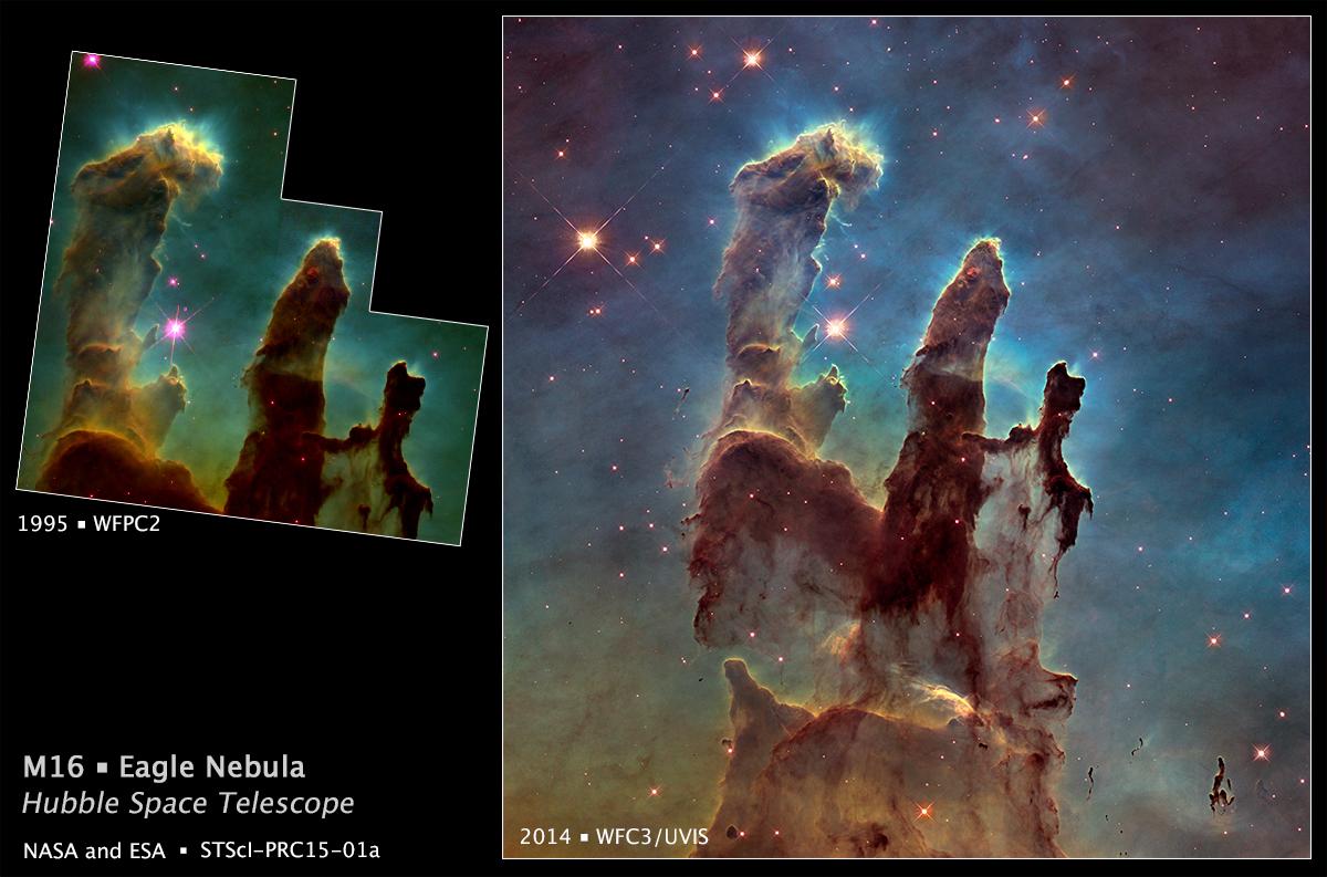 I Pilastri della Creazione riosservati da Hubble per celebrare il suo 25esimo compleanno