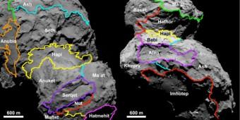 Alcune delle regioni definite sulla superficie visibile della cometa. Crediti: ESA/Rosetta/MPS for OSIRIS Team MPS/UPD/LAM/IAA/SSO/INTA/UPM/DASP/IDA