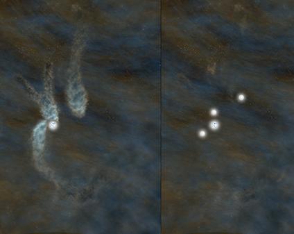 Rappresentazione  artistica di come B5 come appare oggi, a sinistra, e di come apparirà fra circa 40.000 anni quando si sarà formato il sistema multiplo di stelle, a destra. Crediti: Bill Saxton, NRAO/AUI/NSF