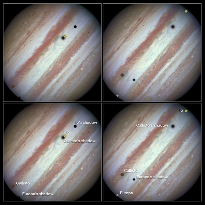 Three moons and their shadows parade across Jupiter — Comparis