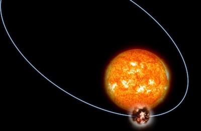 Rappresentazione artistica di Kepler-432b attorno alla sua stella madre. Durante la stagione estiva le temperature sul pianeta raggiungono probabilmente 1000 gradi centigradi. Crediti: G. Thimm