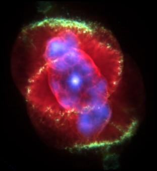 La nebulosa planetaria Occhio di Gatto, immagine composita costituita da immagini nel visibile (Telescopio spaziale Hubble) e nei raggi X (Chandra X-ray Observatory)