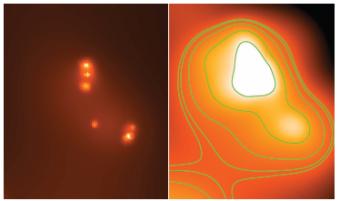 Nella figura sotto, il confronto tra l'immagine Chandra a sinistra - in cui si vedono distintamente 6 sorgenti di cui 5 cosi' brillanti da essere considerate tutte ULX - e sulla destra quella di XMM-Newton in cui ne viene trovata una sola. Crediti: A. Wolter