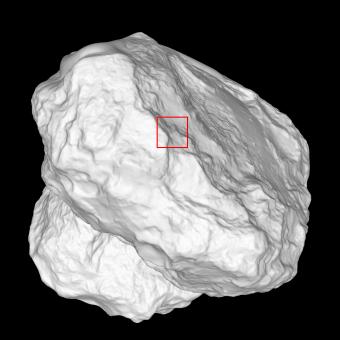 In questo rendering grafico si vede la cometa 67P/Churyumov-Gerasimenko. Il riquadro rosso indica l'area fotografata da Rosetta durante l'ultimo flyby. Crediti: ESA/Rosetta/MPS for OSIRIS Team MPS/UPD/LAM/IAA/SSO/INTA/UPM/DASP/IDA
