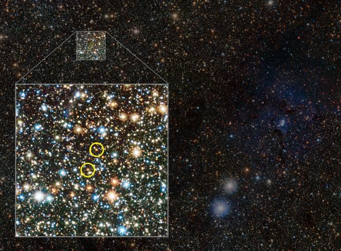 VISTA osserva la Nebulosa Trifida e svela alcune stelle variabili nascoste. Sono le prime mai viste sul lato lontano della Galassia, vicino alla zona centrale del piano galattico. La posizione delle deboli Cefeidi è segnata in questa versione annotata. Crediti: ESO/VVV consortium/D. Minniti
