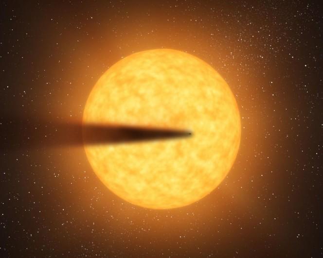Rappresentazione artistica dell'esopianeta KIC 12557548 b, la cui caratteristica principale è la coda polversa. La stella attorno a cui orbita è KIC 12557548. Crediti: NASA/JPL-Caltech