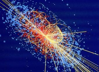 Simulazione del decadimento del bosone di Higgs in quattro muoni. Crediti: Taylor, Lucas / CERN, CMS
