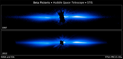 Come Hubble vede Beta Pictoris. La foto di sopra è del 1997 e quella di sotto è del 2012. Crediti: NASA, ESA, and D. Apai and G. Schneider (University of Arizona)