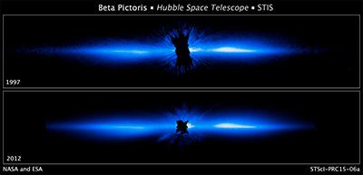 Come Hubble vede Beta Pictoris. La foto di sopra è del 1997 e quella di sotto è del 2012. Crediti: NASA, ESA, and D. Apai and G. Schneider (University of Arizona)