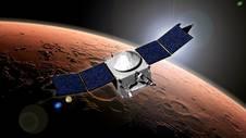 In questa immagine un'impressione d'artista del modulo MAVEN (Mars Atmosphere and Volatile Evolution) della NASA Credits: NASA's Goddard Space Flight Center