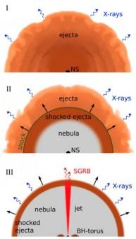 Tre fasi del modello di  emissione di short-GRBs messo a punto da Ciolfi e Siegel. La sigla NS sta per la stella supermassiva, mentre BH è il nuco nero. Fonte: http://arxiv.org/abs/1411.2015