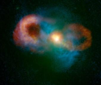 La Teacup Galaxy. Crediti: C. Harrison, A. Thomson; Bill Saxton, NRAO/AUI/NSF; NASA.