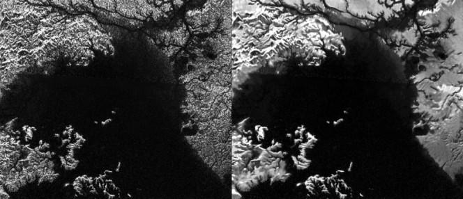 In questa immagine comparata potete vedere Titano: a sinistra l'immagine è stata ottenuta con il Synthetic Aperture Radar (SAR) a bordo di Cassini e a destra è stata utilizzata una nuova tecnica per ridurre interferenze elettroniche. La foto di destra, infatti, appare più chiara e nitida. Crediti: NASA/JPL-Caltech/ASI