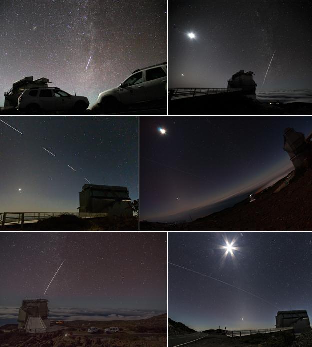 La scia della ISS nei sei scatti degli astronomi del TNG. Sono visibili oltre alla Luna e Venere, anche Marte, Urano, la cometa C/2014 Lovejoy, le galassie M31, M33, le Pleiadi e alcuni ammassi. Le foto sono state inviate a Samantha Cristoforetti. Crediti: FGG / TNG.