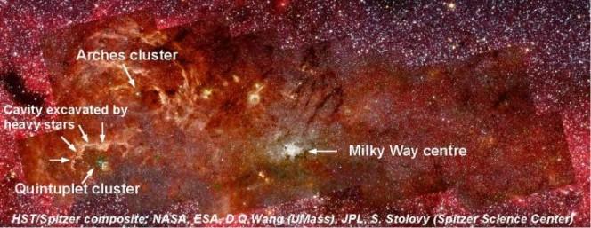 Crediti: HST / Spitzer / NASA / ESA / D.Q. Wang (UMass) / JPL / S. Stolovy (Spitzer Science Center).