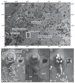 Mappa con la localizzazione della zona di studio (A) e alcuni dettagli dell'analisi geologica. Crediti: Pondrelli et al.