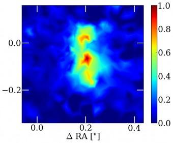 Immagine ricostruita del profilo di luminosità della galassia SDP.81. Sono visibili tre zone distinte: potrebbero indicare che la galassia, rispetto a noi, sia posta di taglio