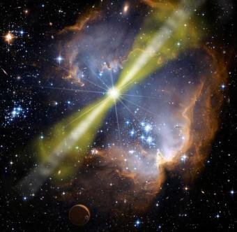 Rappresentazione artistica di un lampo di raggi gamma. CRediti: NASA/Swift/Mary Pat Hrybyk-Keith and John Jone