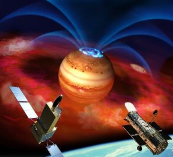 In questa rappresentazione artistica, i telescopi spaziali Hisaki e Hubble studiano le aurore polari del pianeta Giove, dovute a flussi di ioni ed elettroni carichi (getti blu) accelerati lungo le linee del campo magnetico di Giove. Parte di queste particelle provengono da nubi di materiale (in rosso) eruttato da vulcani attivi sulla luna Io, e sono probabilmente all'origine di repentine esplosioni aurorali. Crediti: Japan Aerospace Exploration Agency