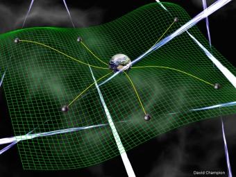 Una rete di pulsar utilizzate per la ricerca di onde gravitazionali, le increspature dello spazio-tempo previste dalla relatività generale. Queste onde provocano cambiamenti nei tempi di arrivo dei segnali radio provenienti dalle pulsar. Questi ritardi sono misurabili da Terra con osservazioni di timing radio estremamente sensibili. Crediti: David Champion