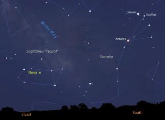 """Localizzazione della nova nella """"teiera"""" del Sagittario (R.A. 18h36m57s Decl. 28°55'42""""). Crediti: Stellarium / Universe Today"""