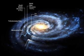 Impressione artistica della forma ondulata della Via Lattea.